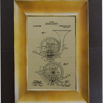 French Horn Patent 1914 Wall Art Poster
