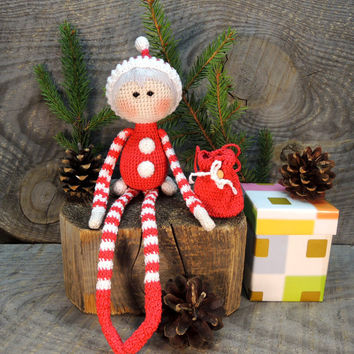 Crochet art doll Little Santa Claus, Cute stuffed dolls, Soft toys for baby, Holiday gift kids, Unique birthday gift idea, Unusual handmade