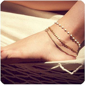 AUGUAU Zealmer Metal Chain Gold Anklet Bracelet Beach Foot Jewelry Charm Heart Infinite Leaf Sequin Beads
