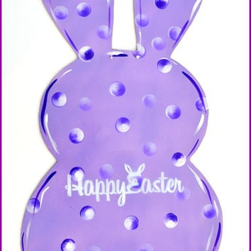 Easter Bunny Door Hanger, Easter Decoration, Large Purple Easter Bunny Door Hanger, Easter Decor, Easter Sign, Bunny Door Hanger Yellow