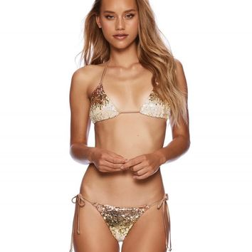 Beach Bunny Ariel Gold Ombre Sequin Triangle Top with Side Tie Bottom Bikini Swimwear Set