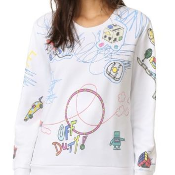 Scribble Print Embroidered Sweatshirt