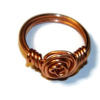 Rosette copper wire wrapped flower ring / Made to order / Custom size wire wrap ring
