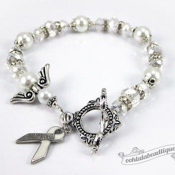 Lung Cancer bracelet awareness jewelry Guardian Angel bracelet hope bracelet cancer awareness white ribbon bracelet bone cancer jewelry