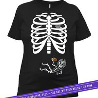 Baby Skeleton Costume Shirt Halloween Pregnancy Announcement T Shirt Football Baby Clothes Maternity Outfits Pregnant Ladies Tee MAT-795