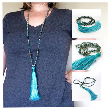 Turquoise Mala Beads, Boho Jewelry Tassel Necklace, Long Beaded Hippie Necklace, Mala Necklace Tassel, Bead Necklace with Tassel Pendant