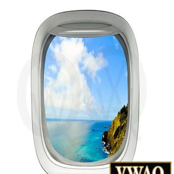 Aircraft Decals Aerial View Mountain Side Beach Peel and Stick Aviation Decor VWAQ-PW15