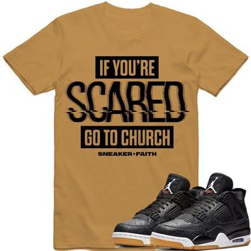 SCARED Sneaker Tees Shirt - Jordan Retro 4 Black Laser Gum