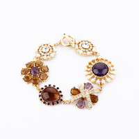 Purple and Brown Gem Stone Flowers Bracelet