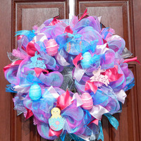 Pink Blue Deco Mesh Easter Wreath, Easter Egg Wreath, Easter Bunny Wreath, Pink Blue Easter Decor, Easter Home Decor, Spring Wreath