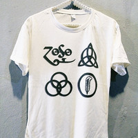 Led Zeppelin Symbols Shirt Vintage Hard Rock Women Tee Shirts Off White T-Shirt Size M