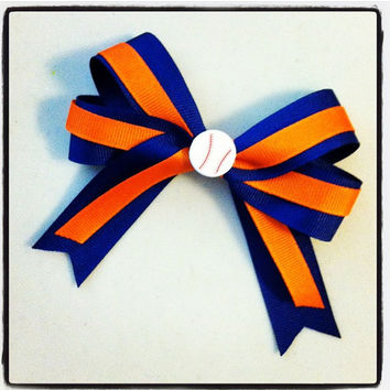 Softball Team Hair Bow - Orange and Blue
