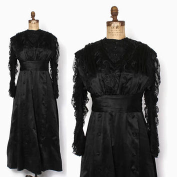 Vintage EDWARDIAN DRESS / Antique 1910s Black Silk Net Lace Gown S - M