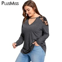 Plus Size 5XL Sexy Lace Crochet Cold Shoulder Tunic Top Autumn Fall 2017 Women Keyhole Neck Long Sleeve Loose Blouse Shirt