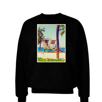 Lifeguard Station Watercolor Adult Dark Sweatshirt