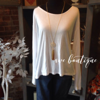 Previously Loved white long sleeve w/ braid