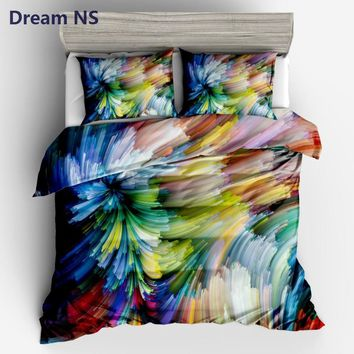 AHSNME Watercolor Painting Comforter Covering Bright Rainbow Bedding Set Modern Duvet Cover US Size Queen King Dropshipping