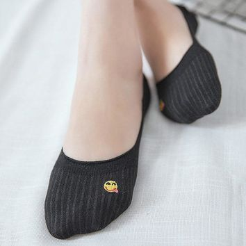 Cotton Boat Socks Smile Embroidery Breathable Ankle Socks