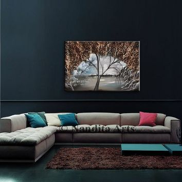 Landscape Painting, Original Landscape Wall Art, Still-Life Original Acrylic Painting on Canvas, Modern Tree Art, Abstract Art on Canvas