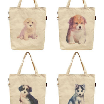 Dog Hand Painted Watercolor Printed Canvas Tote Shoulder Bag WAS_40