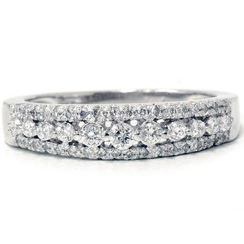 1/3CT Diamond Anniversary Ring 14K White Gold Womens Stackable Guard Wedding Band Pave Size (4-9)