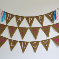 Happy Birthday Burlap banner with name custom made with colors and name 4-6 feet long horse banner