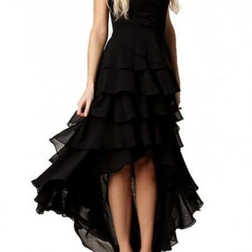Black Plain Cascading Ruffle Irregular Bandeau Tiered Maxi Dress