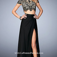 Gigi Two Piece Long Embroidered Chiffon Prom Dress
