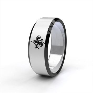 New New Orleans Saints Black Titanium Steel Engraved Ring Sizes 6 7 8 9 10 11 12 13 14 15
