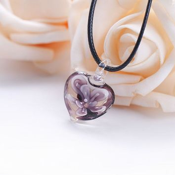Charm Heart Shape Art Murano Lampwork Glass Pendant Necklace with Purple Flowers Inside for Women Girls Summer Jewelry