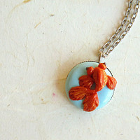 Tangerine Tango Goldfish Necklace, 0.71 inches pendant