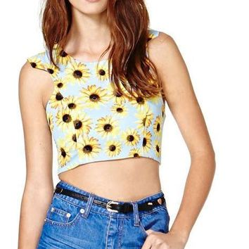 Fashion Floral Printed Crop Tops Women Sleeveless Crew Neck Female Casual Lady Tank Slim Zippers Short Tank Tops