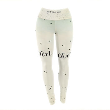 "Susannah Tucker ""You Can Soar"" Tan Typography Yoga Leggings"