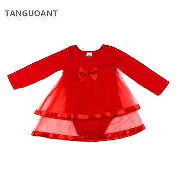 TANGUOANT Drop shipping Newborn Baby dress, Baby girl clothes With Bowknot, Long sleeve Vestido infantil, Net Baby girl dress