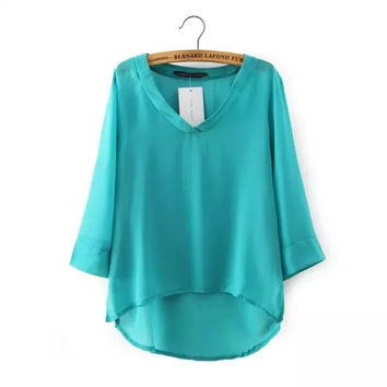 Three Quarter Length V-Neckline Irregular Hem Chiffon Blouse