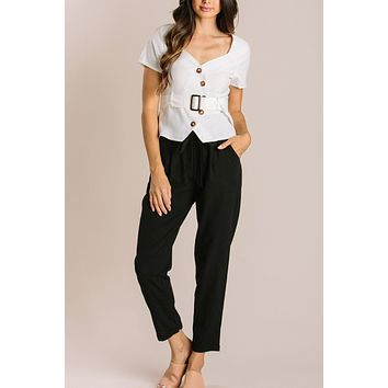 Finley Asymmetrical Button Top