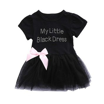 Summer Lace Dress Bow-knot Plaids Dress Baby Girls Infant Toddler Embroidered Little Black Dress Princess Party Dresses 0-24M