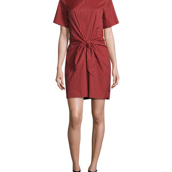 3.1 Phillip Lim Short-Sleeve Striped Knotted Crepe Dress, Poppy/Black