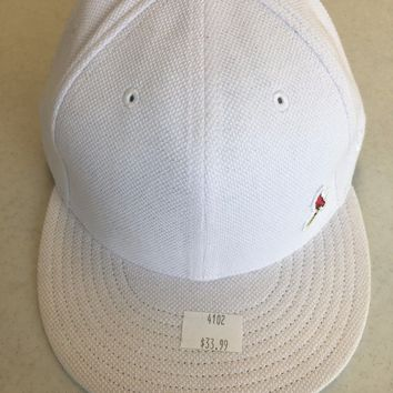 NEW ERA ST. LOUIS CARDINALS RETRO 5950 ALL WHITE W/ SMALL CARDINAL FITTED HAT
