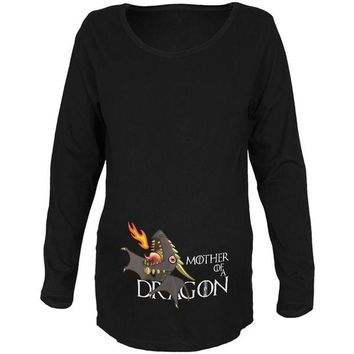 DCCKJY1 Mother of a Dragon Cute Black Fire Maternity Soft Long Sleeve T Shirt