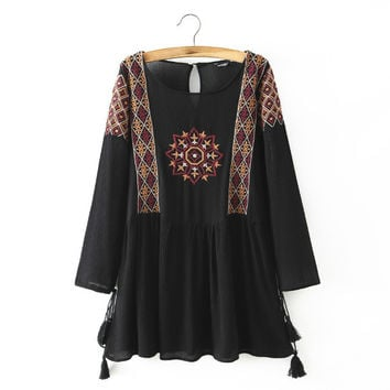 Women's Fashion Cotton Embroidery One Piece Dress [4914968004]