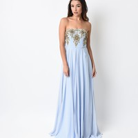 Sky Blue & Gold Floral Embroidered Beaded Strapless Chiffon Dress 2015 Prom Dresses