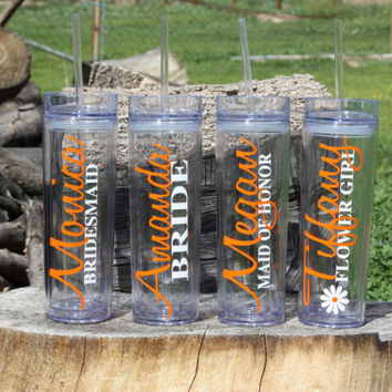 10 Tall Skinny Personalized Tumblers Wedding Party Gifts, Bride, Bridesmaids, Flower Girls