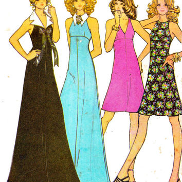 1970s Halter Dress or Maxi with Detachable Collar Vintage Sewing Pattern McCalls 3415 Size 12 Bust 34