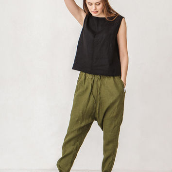 Moss green harem pants, Linen pants, Woman pants, Natural linen pants, Trousers, Stone washed linen, French linen, Linen clothes, Yoga pants