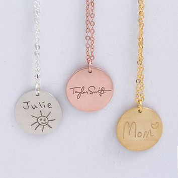 Handwriting Circle Necklace, Circle Disc, Handwritten Signature, Drawing,Bridesmaid Gift,Gift for Her,Gold,Rose Gold,Silver,LUVINMARK,LVMKA1