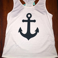 Anchor's Away Mint Bow Back Tank