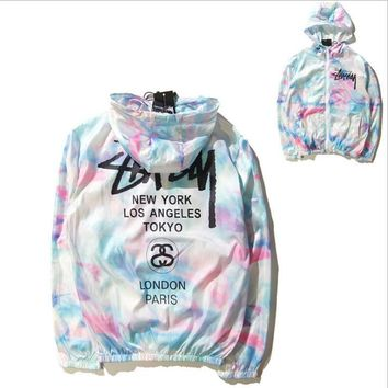 Stussy Tie stained ice cream color windbreaker BF BF Harajuku style students class clothes couple jacket sun protection clothing