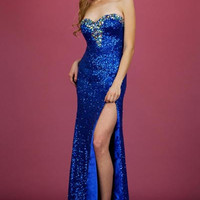 PRIMA C1313168 Long Blue Sequin Prom Dress