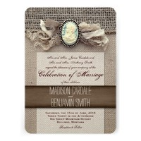 Rustic Vintage Cameo Brooch Burlap Wedding Invites